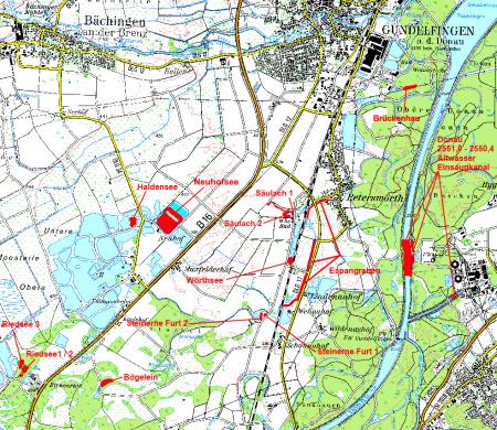 Gewässerübersichtsplan des Fischereivereins Gundelfingen e.V.